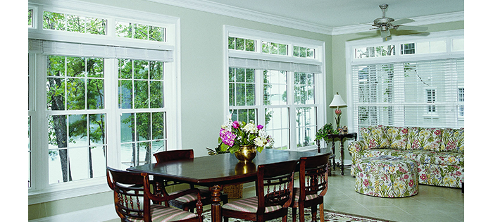 Dining Room With Large Windows And Patio Doors Transom Windows ...