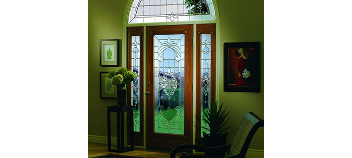 stromberg windows doors front entry door with stained glass and arched window above